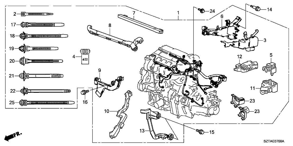 2013 Honda CR-Z 3 Door BASE KA CVT Engine Wire Harness