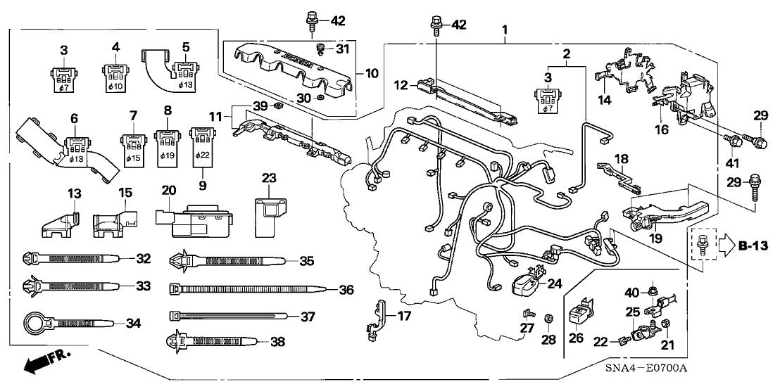 2006 Honda Civic 4 Door DX KA 5AT Engine Wire Harness (1.8L)