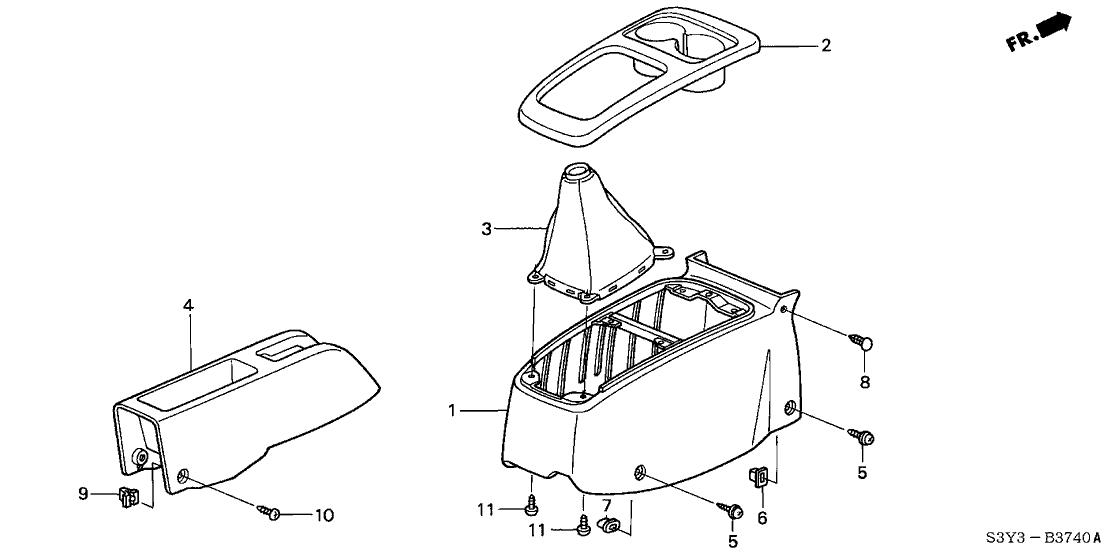 2000 Honda Insight 3 Door DX (A/C) KA 5MT Console