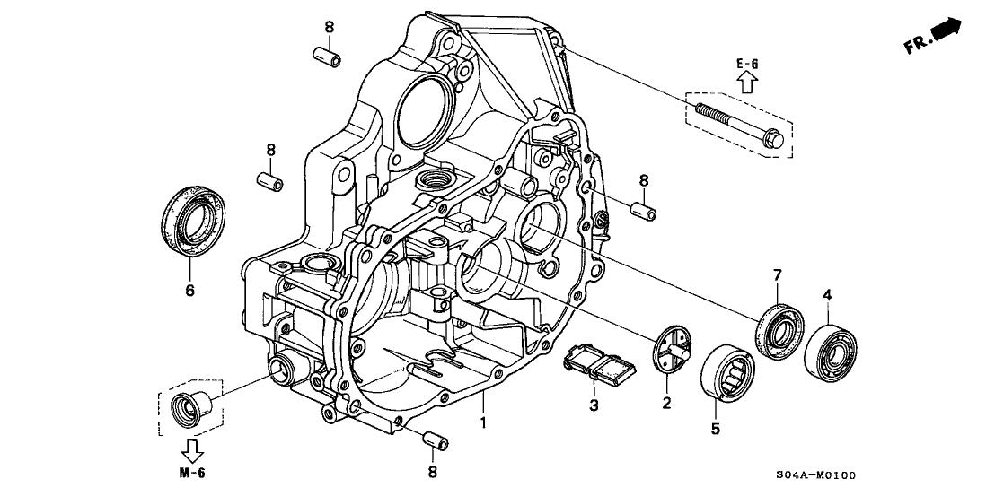 1998 Honda Civic 4 Door EX KA 5MT MT Clutch Housing