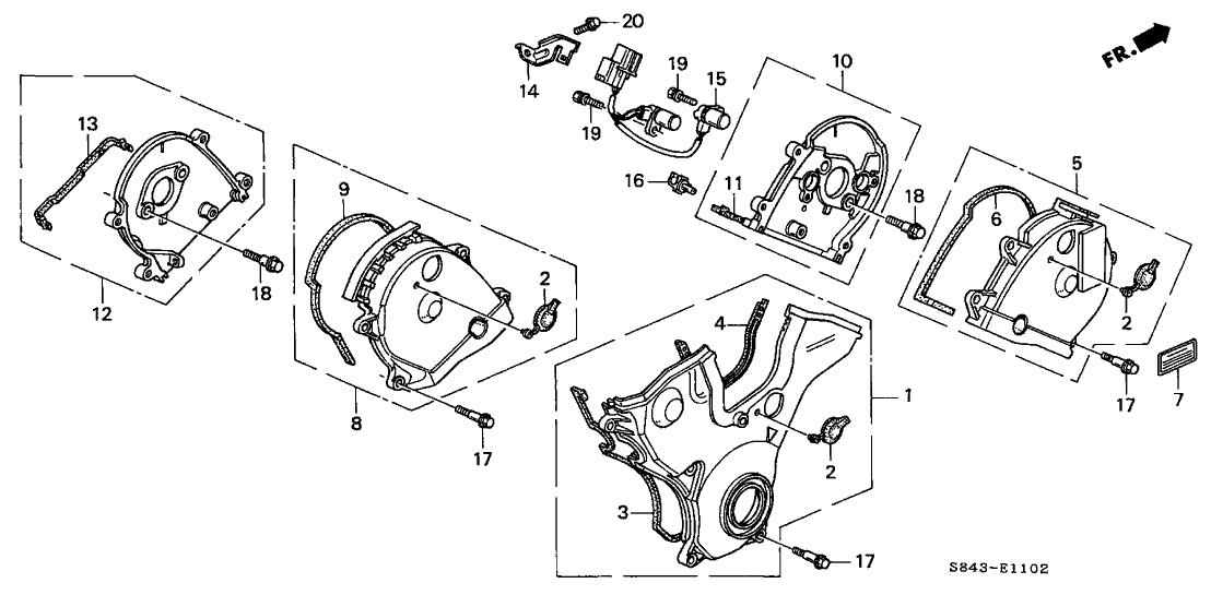 1998 Honda Accord 2 Door EX (V6) KA 4AT Timing Belt Cover (V6)