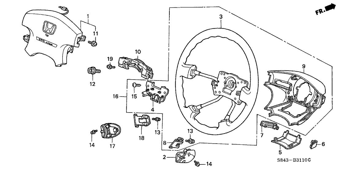 2000 Honda Accord 4 Door EX KA 5MT Steering Wheel (SRS)