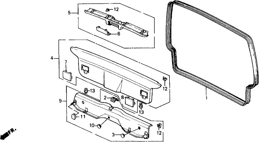 1991 Honda Civic 5 Door DX KA 5MT Tailgate Lining