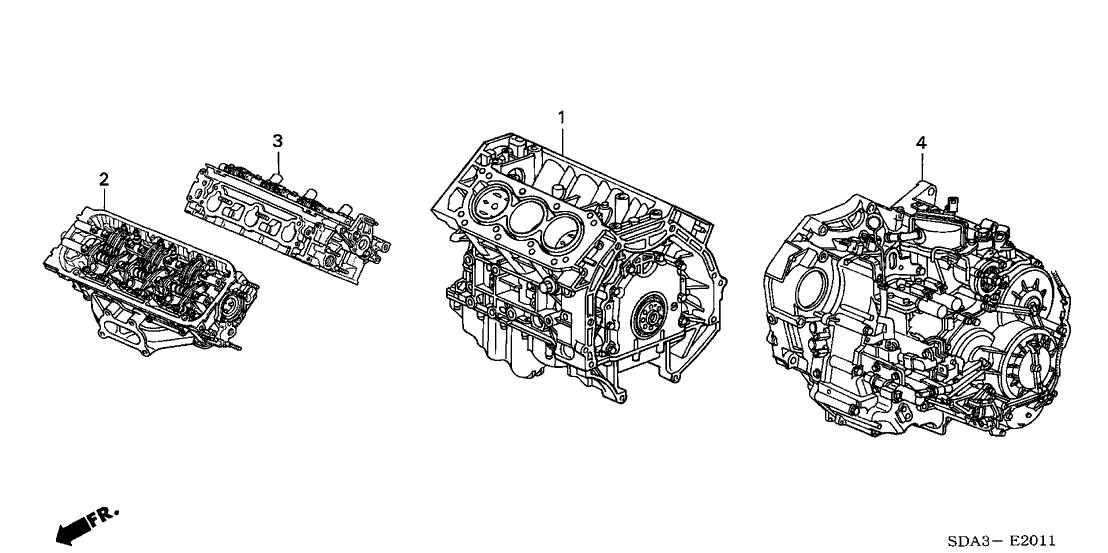 2006 Honda Accord 4 Door EX (V6) KA 6MT Engine Assy