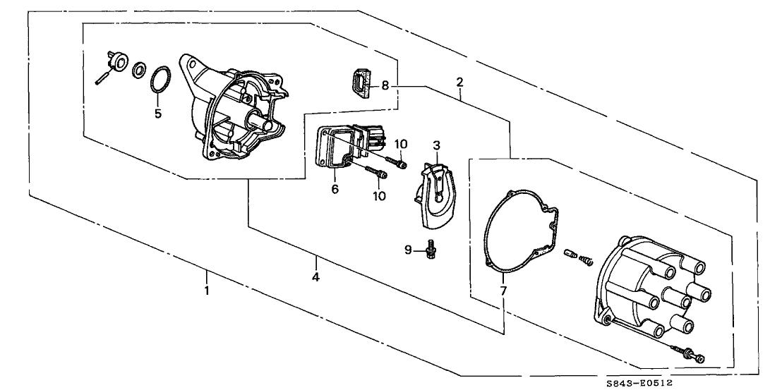 1998 Honda Accord 2 Door LX (V6) KA 4AT Distributor