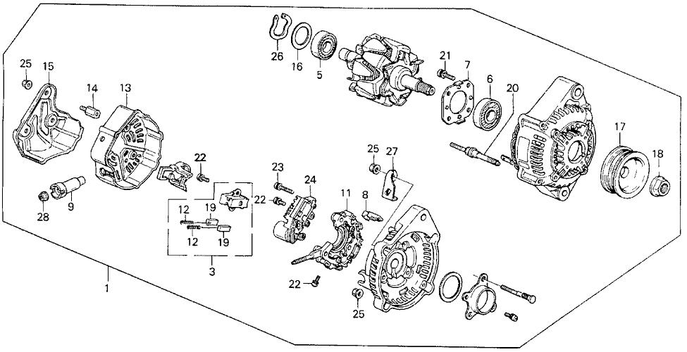 1988 Honda Prelude 2 Door 2.0SI (4WS) KA 5MT Alternator