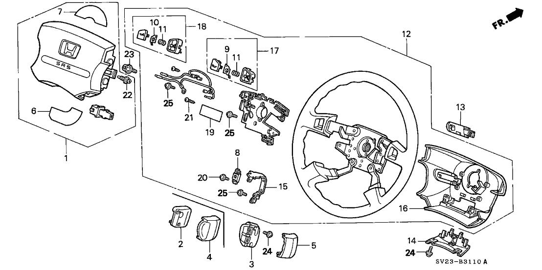 1997 Honda Accord 2 Door EX KA 5MT Steering Wheel