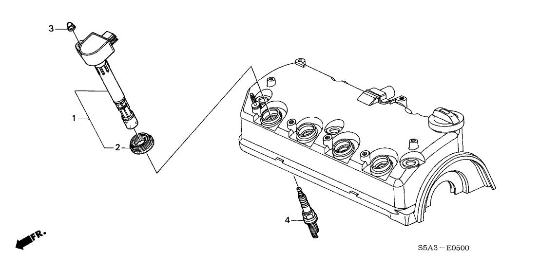 2001 Honda Civic 4 Door EX (SIDE SRS) KA 5MT Ignition Coil