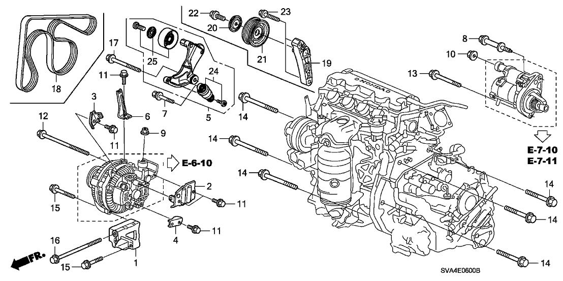 2006 Honda Civic 2 Door EX KA 5AT Alternator Bracket (1.8L)
