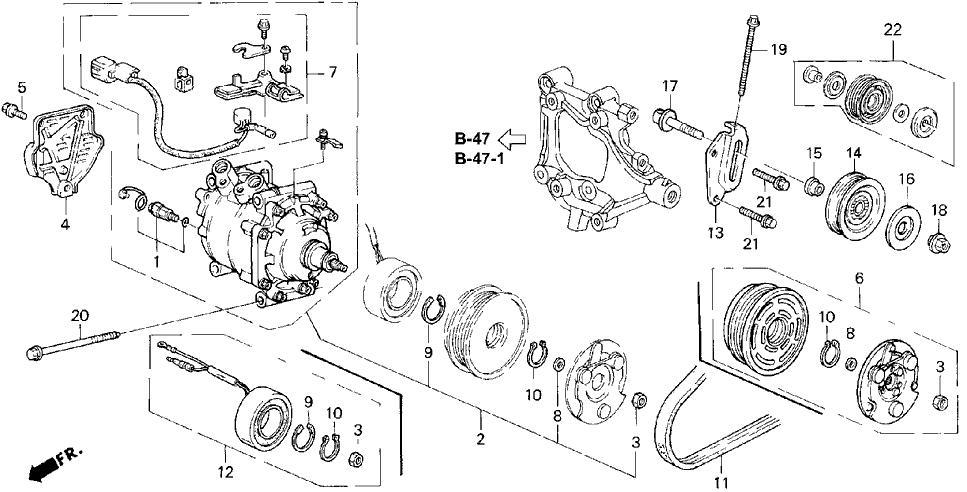 1994 Honda Civic 4 Door EX (ABS) KL 5MT A/C Compressor