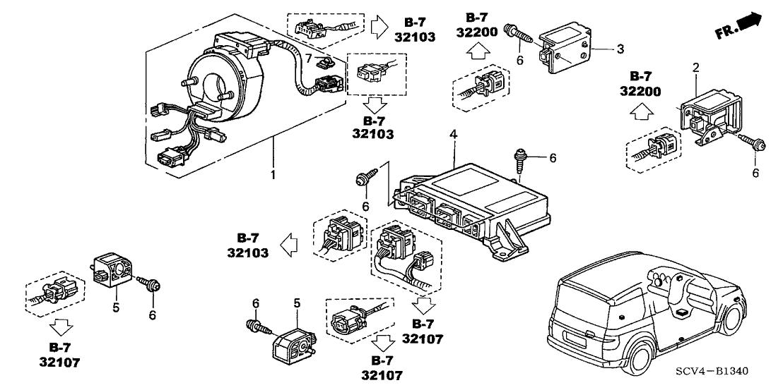 2004 Honda Element 5 Door LX (2WD) KA 4AT SRS Unit