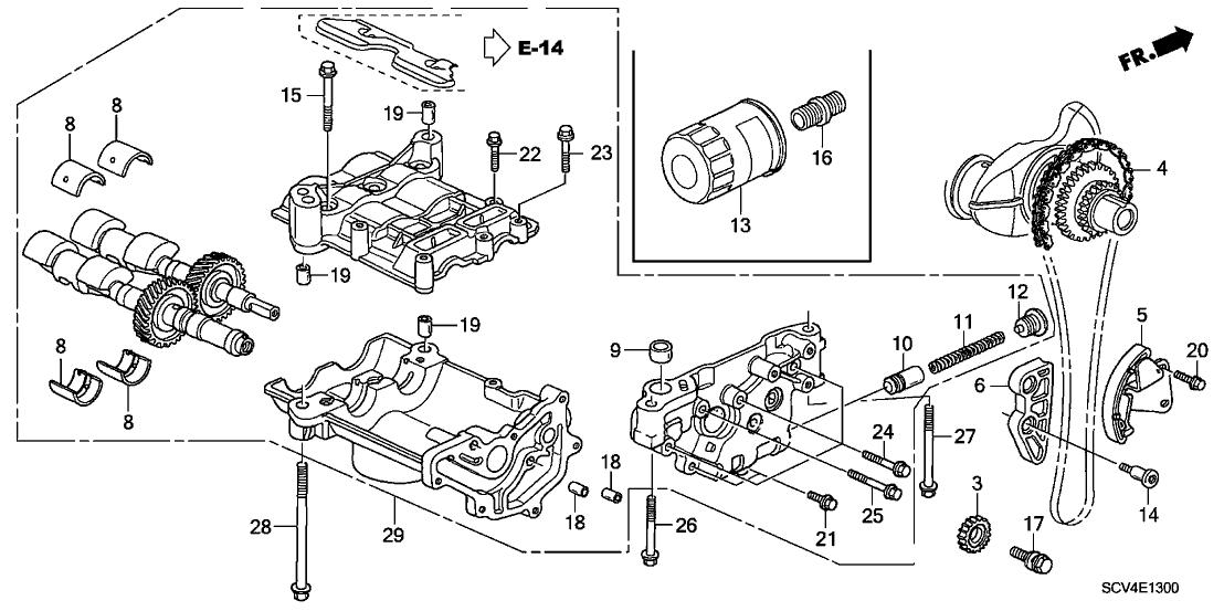 2003 Honda Element 5 Door EX (4WD SD A/B) KA 4AT Oil Pump