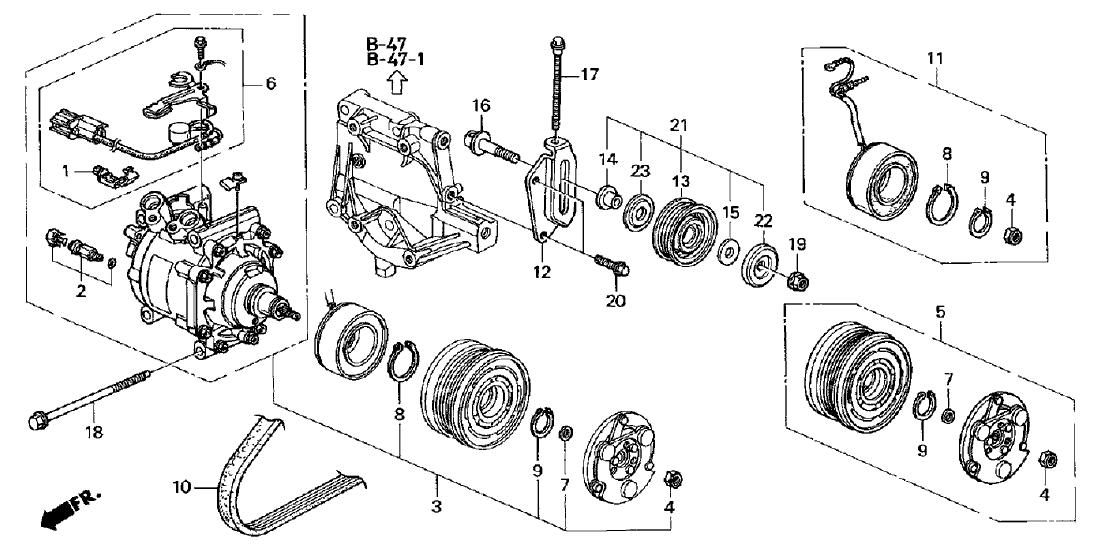 1998 Honda Civic 3 Door DX KA 5MT A/C Compressor (Sanden)