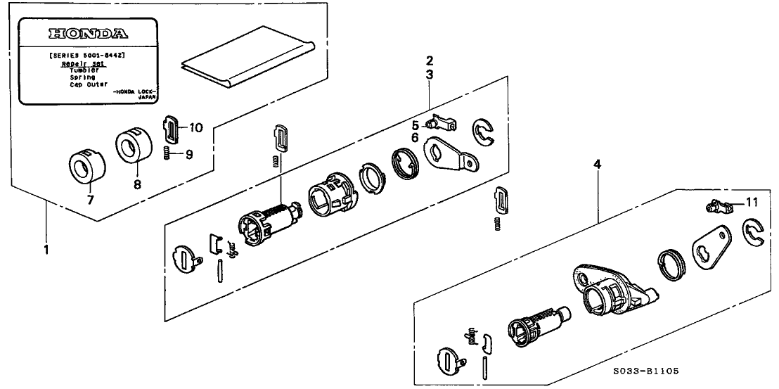 1998 Honda Civic 3 Door DX KA 5MT Key Cylinder Kit