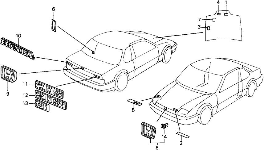 1991 Honda Prelude 2 Door 2.05SI (4WS) KA 5MT Emblems