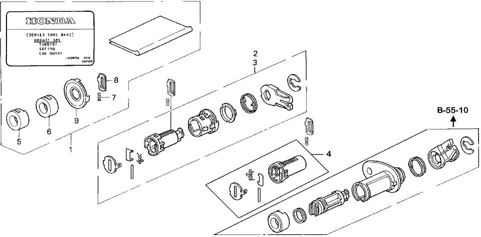1994 Honda Civic 4 Door DX KL 5MT Key Cylinder Kit