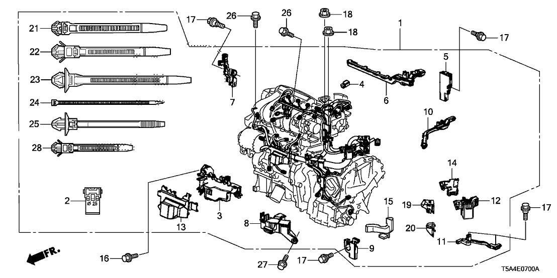 2017 Honda Fit 5 Door EX KA CVT Engine Wire Harness