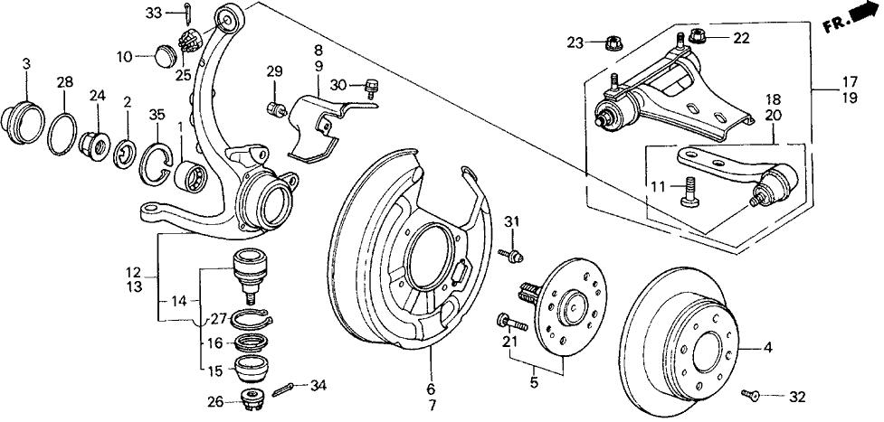 1991 Honda Prelude 2 Door 2.05SI (4WS) KA 5MT Rear Brake Disk