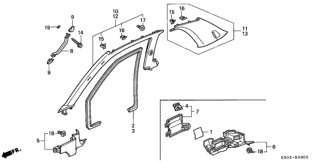 2000 Honda Prelude 2 Door TYPESH KA 5MT Pillar Garnish