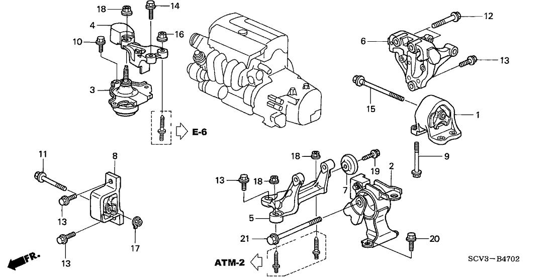 2005 Honda Element 5 Door EX (4WD SD A/B) KA 4AT Engine Mounts