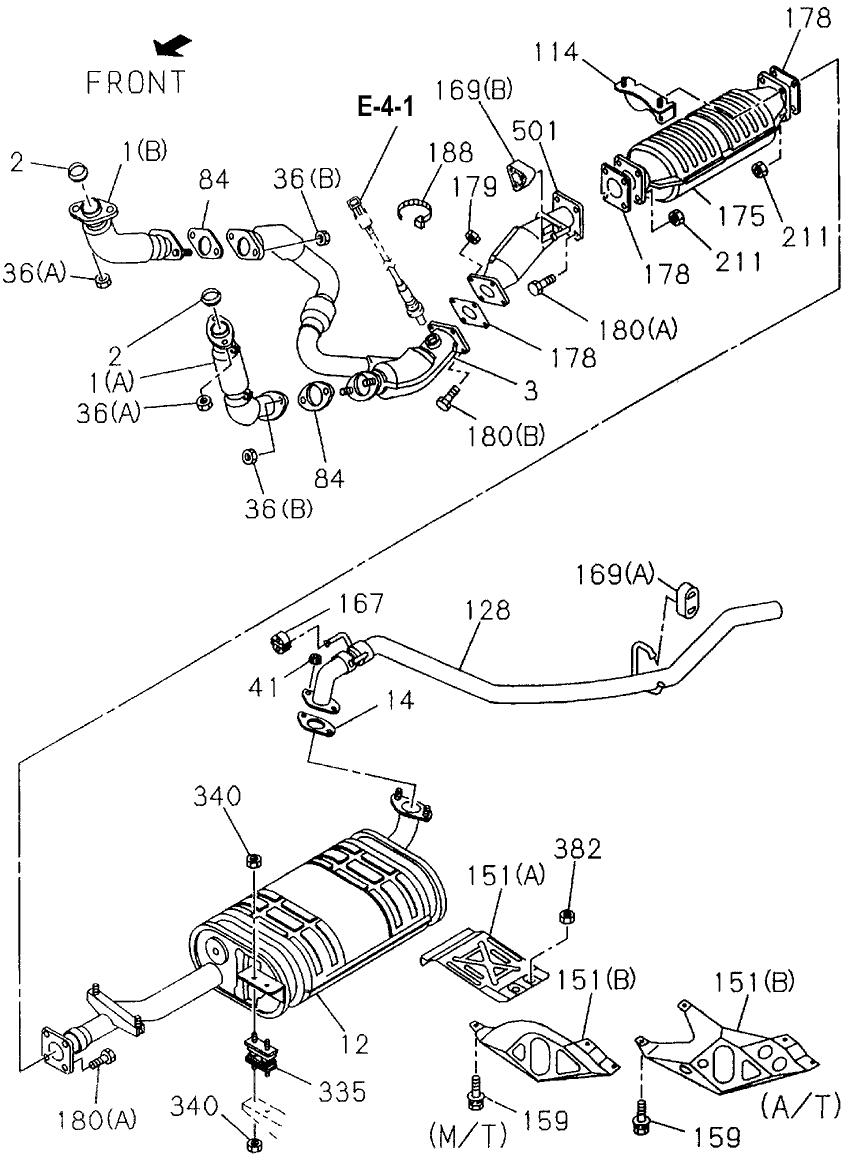 1995 Honda Passport 4 Door EX-W (4X4 V6) KA 4AT Exhaust Pipe