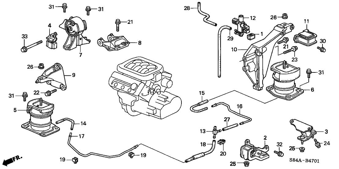 2002 Honda Accord 4 Door EX (V6) KA 4AT Engine Mounts (V6)