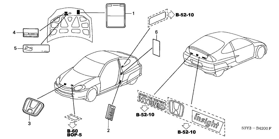 2000 Honda Insight 3 Door DX (A/C) KA 5MT Emblems