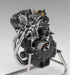 bore size of 67mm is identical to that of the cbr600rr cae was used to ensure the pistons have the optimum balance between weight strength and rigidity  [ 1200 x 899 Pixel ]