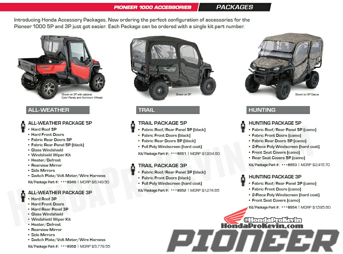 hight resolution of custom 2018 honda pioneer 1000 packages accessories utv side by side atv