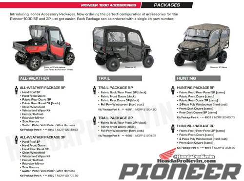 small resolution of custom 2018 honda pioneer 1000 packages accessories utv side by side atv