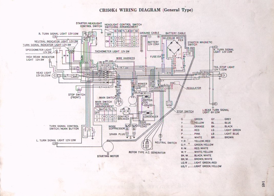 hight resolution of yellow wire from alt rect reg cb350 k4 schematic
