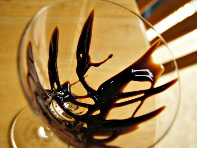Prep your martini glass with chocolate syrup