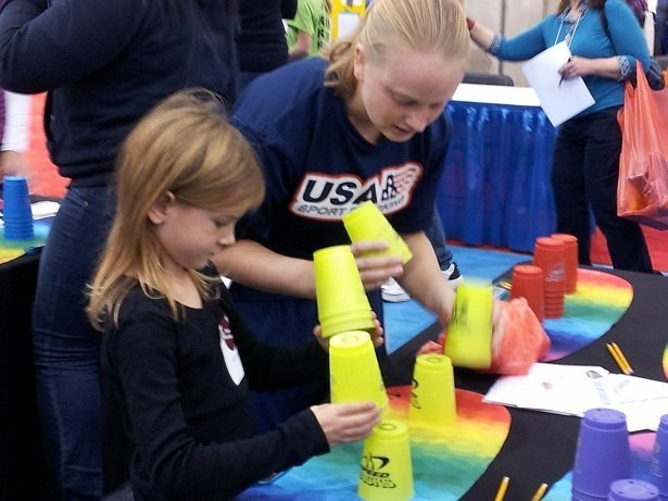 Little Miss learns about Speed Stacking from the US National Champ