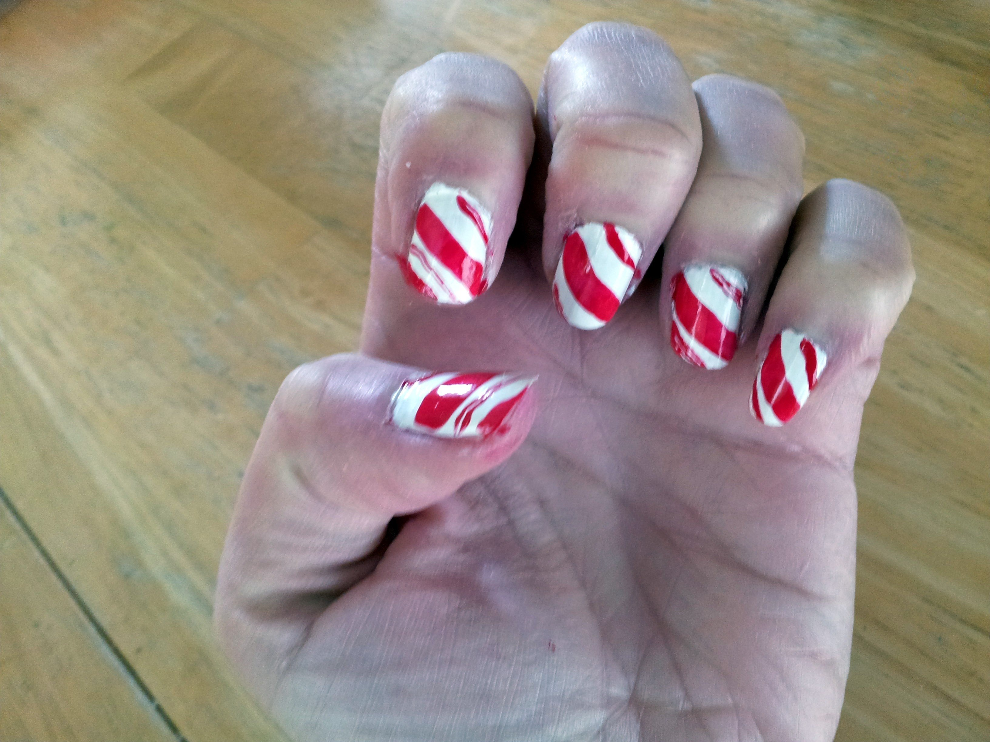 Candy cane nails completed