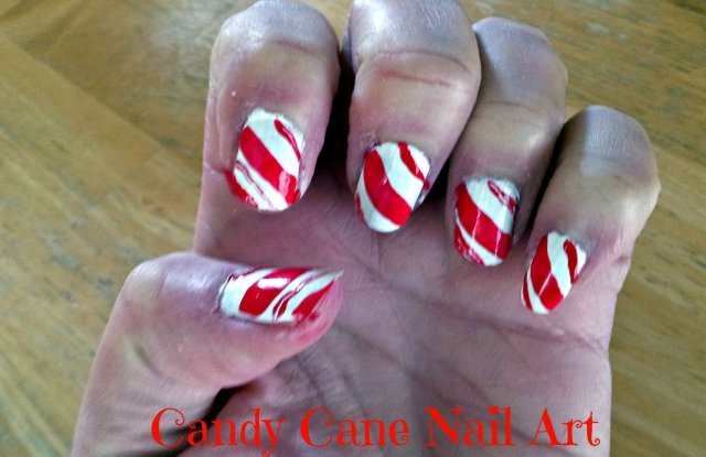 Candy cane manicure done at home