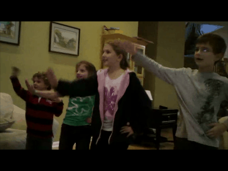 Kids Dancing to Just Dance Disney Party for Xbox Kinect
