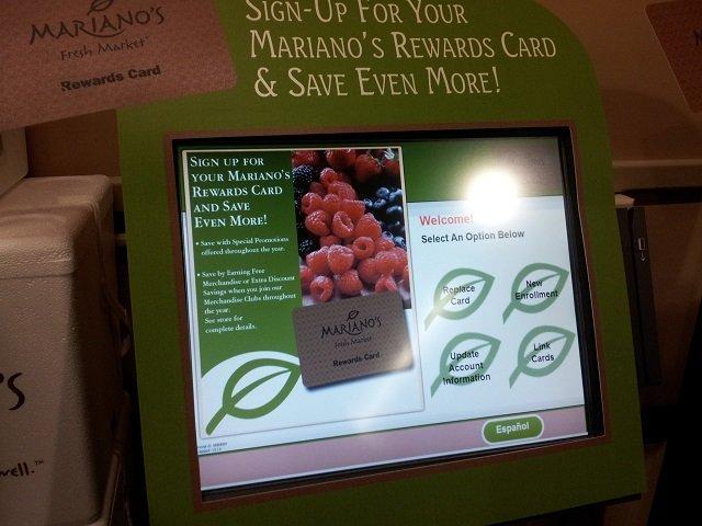 Rewards card kiosk at Mariano's