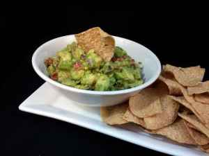 Plated homemade guacamole