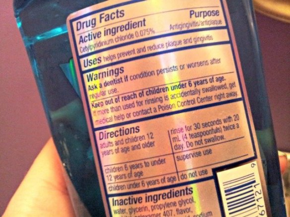 Directions on how to use the mouthwash