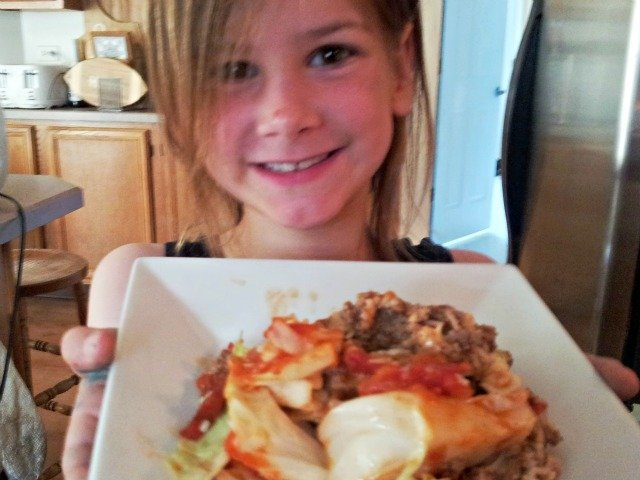 Little Miss with unstuffed cabbage rolls