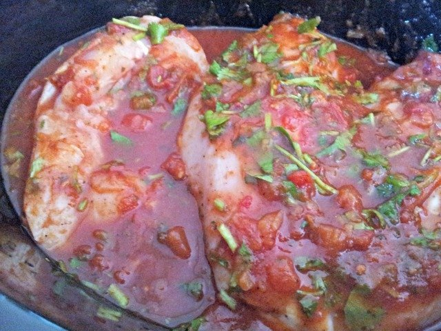 Tomato lime chicken in the crock pot before cooking