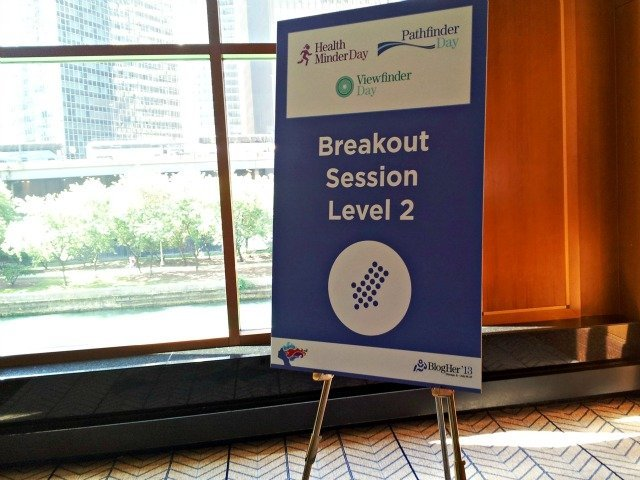 Sign from BlogHer showing sessions