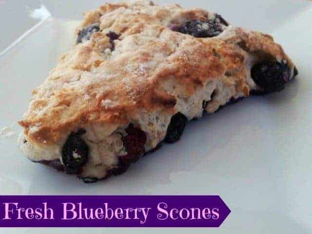 Fresh blueberry scone on a plate