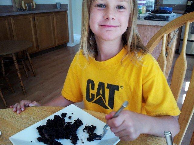 Enjoying dark chocolate cake