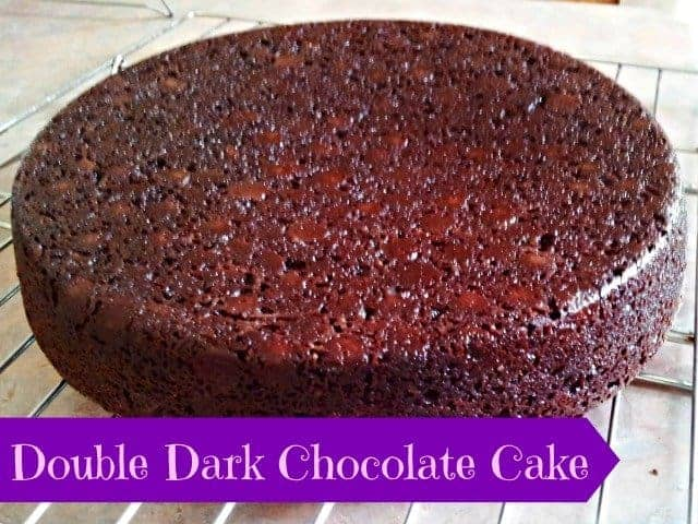 Double dark chocolate cake unfrosted