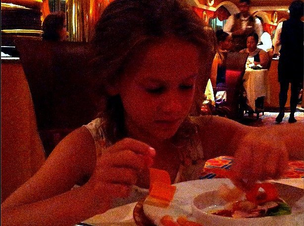 Little Miss loving her dairy free options on Carnival Cruise
