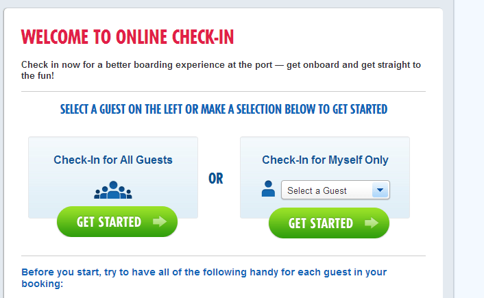 First step to check in online for Carnival cruises