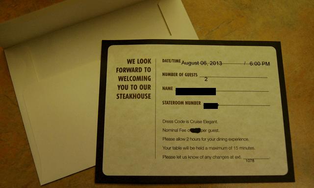 Reminder card for steakhouse dinner aboard the Carnival Valor