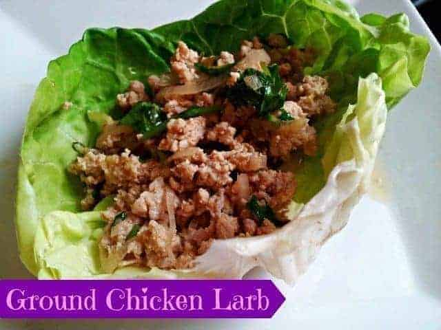 Ground chicken larb in a lettuce cup #ad