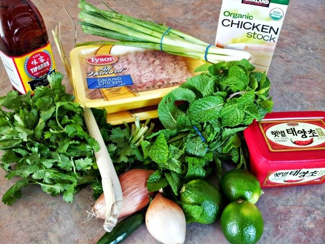 #ad Ingredients for chicken larb recipe